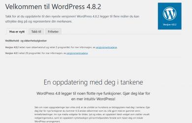 Ny oppdatering til WordPress