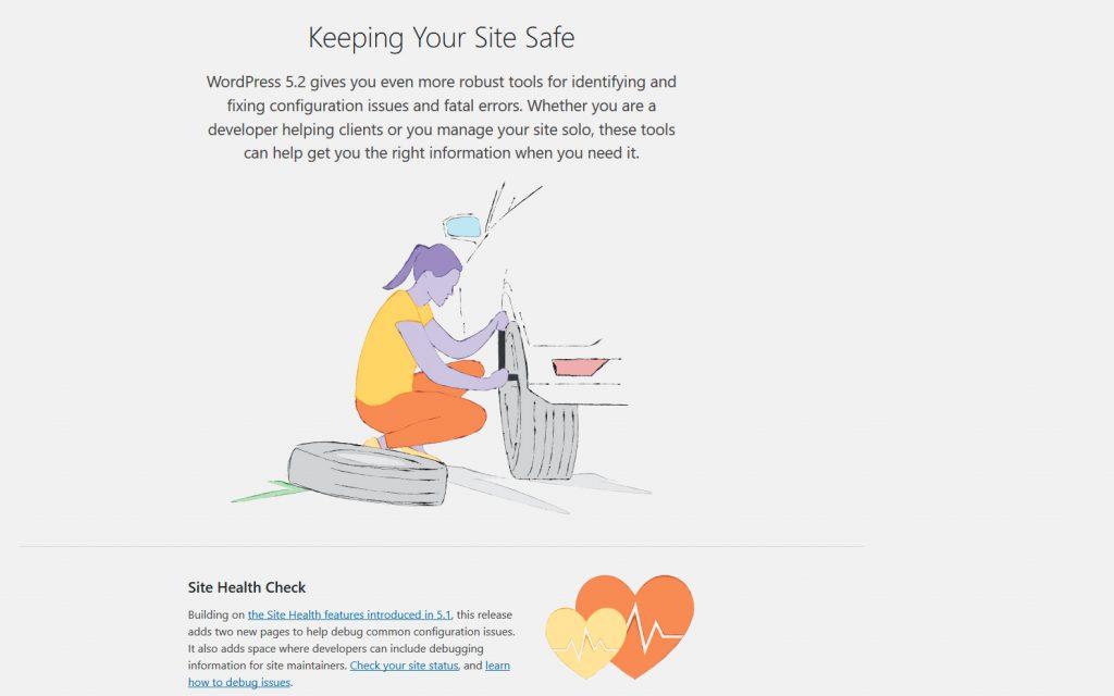 Skjermbilde av om-skjerm til WordPress 5.2